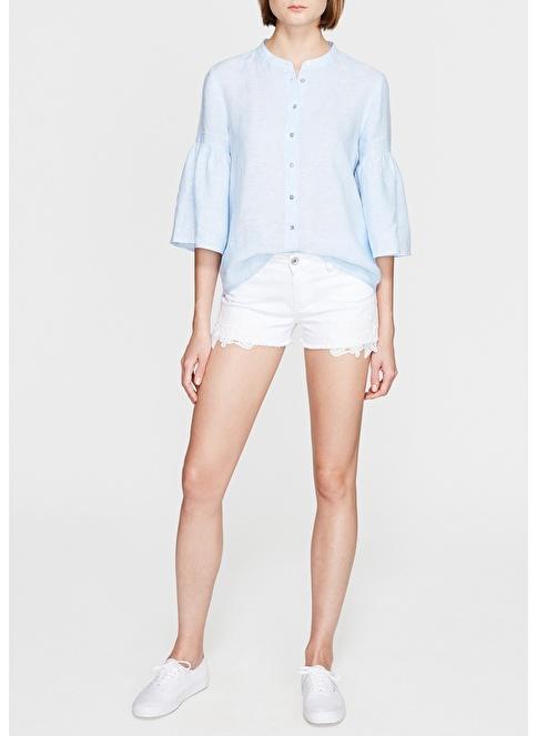 Mavi Jean Şort Beyaz